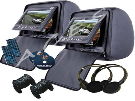 Black Digital Dvd Headrests